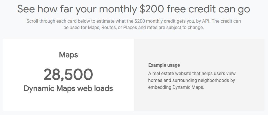 Google Maps Platform の200ドルの無料クレジットでできること