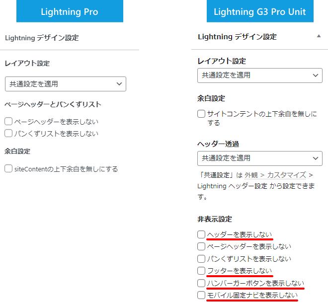 最新版の Lightning G3 Pro Unit は CSS を書かなくても編集画面でヘッダー・フッター・ハンバーガーボタン・モバイル固定ナビを表示しないようにできます。